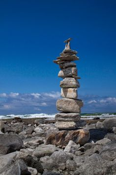 Cairn+on+the+Beach+by+Charlevoix+Michigan+A+by+RandyNyhofPhotos,+$12.00
