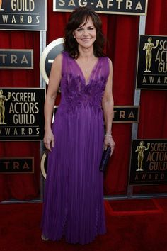 Sally Field Wore a Pleated Purple Gown at the 2013 SAG Awards