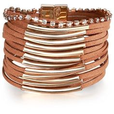 Suede Layered Wider Women Bracelets Brown ($16) ❤ liked on Polyvore featuring jewelry, bracelets, magnetic jewelry, special occasion jewelry, brown jewelry, holiday jewelry and cocktail jewelry