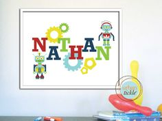 Personalized Name for Child's room or Nursery - Robots-8X10 Inches, Play Room decor, Birthday gift, baby shower gift idea. $20.00, via Etsy.