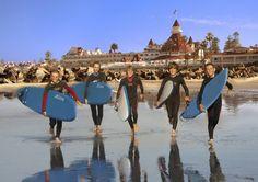 Learn to surf at the Hotel Del Coronado, a luxury San Diego beachfront hotel.