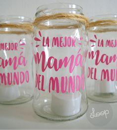 FRASCO FANAL VELA LED [DÍA DE LA MADRE] Wine Glass, Mason Jars, Mugs, Tableware, Mom Presents, Mothers, Jars, Manualidades, Dinnerware