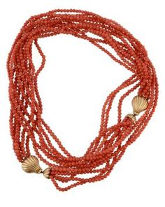 Lot: 19th Century 5 Strand Red Coral Necklace 14KG Clasp, Lot Number: 0607, Starting Bid: €600, Auctioneer: VenduHuis De Jager, Auction: Red Coral, China Porcelain, & Jewelry Auction, Date: August 25th, 2015 AEST
