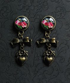 "Vintage Rose, Bow, and Heart Feminine Dangle Plugs - 4g, 2g, 0g, 00g, 7/16"", 1/2"""