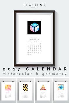 2017 Watercolors Printable Calendar. Printable design. Printable calendar. If you, like me, love geometry, watercolors and minimal design you will love this 2017 Printable Calendar. This one of a kind, abstract and minimal calendar and design piece, will transform your house into a modern and unique home. Print it the size you want, frame it, include it on your personal planner, just bind it and hang it on the wall, whatever fits you. Enjoy!