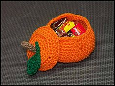 Pumpkin Treat Bowl - I made several of these for relatives out of worsted weight acrylic yarn.