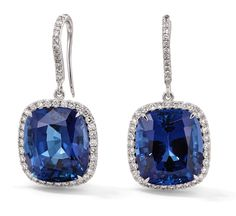 Rosendorff Royal Blue Collection Sapphire and Diamond Drop Earrings