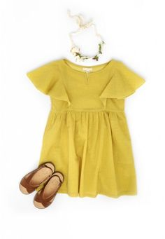 Yellow butterfly dress and hair ribbon | Talc - Via Thalia & Bubu