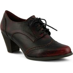Spring Step Women's Ennia Bordeaux Oxford Shoes ($130) ❤ liked on Polyvore featuring shoes, oxfords, red, balmoral oxfords, leather oxfords, leather shoes, oxford brogues and red oxford shoes