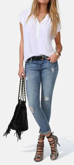 Get this look with the Placket Blouse and the Deconstructed Brett Jean…the Wild Diva Snake Sandals - Street Fashion, Casual Style, Latest Fashion Trends - Street Style and Casual Fashion Trends Mode Outfits, Casual Outfits, Summer Outfits, Fashion Outfits, Fashion Trends, Casual Jeans, Luxury Fashion, Fashion Fashion, Winter Outfits