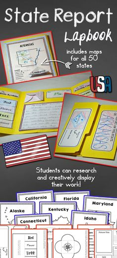 State Report Lapbook  This State Report resource provides materials needed for students to organize and present their research on one of our fifty nifty states!  Perfect for students in mid to upper elementary, this resource includes a variety of material