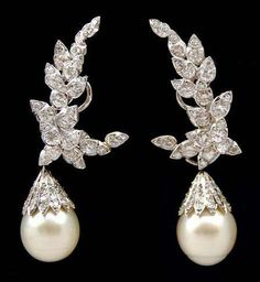 Sterle' Platinum Diamond and South Sea Pearl Earrings  | Fashion Jewellery Antique | Rosamaria G Frangini