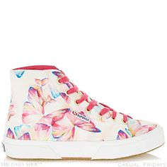 """""""With a striking print and high-top design, these sneakers are a versatile and eye-catching pair to own. Whether worn with shorts or jeans you'll love your look Superga Sneakers, High Top Sneakers, Shoes Sneakers, High Tops, High Street Brands, Cute Heels, Beautiful Shoes, Converse Chuck Taylor, Designer Shoes"""