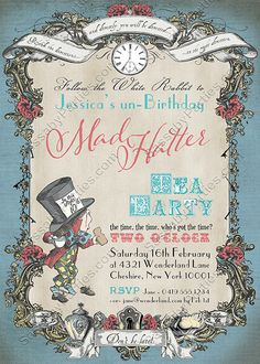 Mad Hatter Invitation Blue Pastel INSTANT by SassabyParties Printing Services, Online Printing, Party Co, Tea Party Invitations, Alice In Wonderland Birthday, Mad Hatter Tea, Banner, Pastel, This Or That Questions