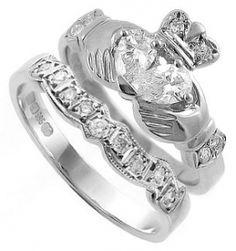 Celtic Wedding Set Marquise Diamond Puzzle Diamond Claddagh