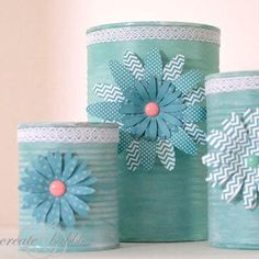 Pretty Upcycled Tin Can Craft by Jeanie H.-would be nice for flowers from garden to take to someone.