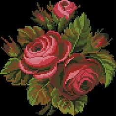 Cross Stitch Bird, Cross Stitch Flowers, Counted Cross Stitch Patterns, Cross Stitch Charts, Cross Stitching, Cutwork Embroidery, Cross Stitch Embroidery, Best Roses, Rose Rise
