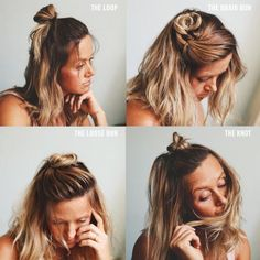 """Four easy half Up """"top knots"""""""