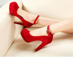 Sexy Mary Jane Ankle Strap High Heel Platform Stilettos Suede Womens Pump Shoes #NEW #MaryJanes