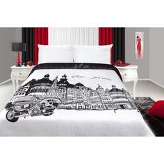 Čierno biely prehoz na posteľ s motívom Paríž Furniture, Home Decor, Bedrooms, Decoration Home, Room Decor, Bedroom, Home Furnishings, Home Interior Design, Dorm Rooms