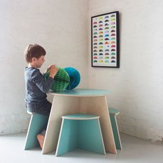 Circle Table with 4 small stools by SMALL-DESIGN