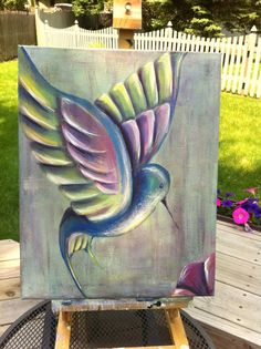 Original Acrylic Hummingbird Painting 16x20 by GracedbyDesign, $110.00