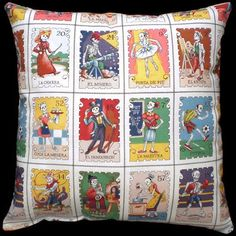 Day Of The Dead Pillow Cushion Mexican Loteria Rockabilly Home Decor