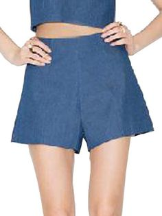High Waisted Concise Blue Casual Shorts Women's Hot Bottoms on buytrends.com