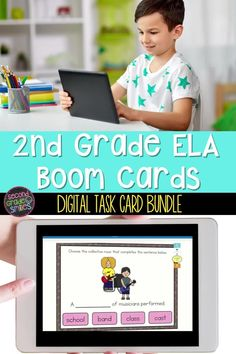 An entire year of self-checking ELA digital task cards that cover core language skills taught in 2nd grade!  Currently includes 25 second grade grammar and vocabulary Boom Card™ activities with more to be added! Ideal for distance learning, homework, and independent center work. Due to the digital nature of the cards, students receive immediate feedback and an opportunity to correct incorrect answers. Teaching Vocabulary, Grammar And Vocabulary, 2nd Grade Ela, Second Grade, Collective Nouns, Task Cards, Reading Comprehension, Teaching English, Homework