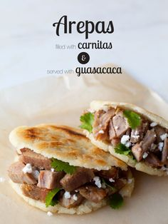 A recipe for Arepas and Guasacaca - I used this recipe for the arepas, I already had a good recipe for carnitas and added mexi slaw and quacamole