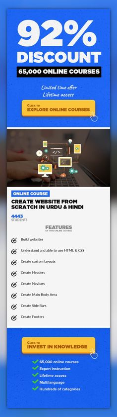 Create Website from scratch in Urdu & Hindi Web Development, Development  Website layout in HTML and CSS This course is in Urdu & Hindi Language.-In this course we are going to create a good looking website from scratch.-A little knowledge of HTML 5 & CSS 3 required if not but still you can take this course.-After finishing this course students can create their own good looking websites.-Don't h...