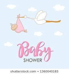 Cartoon stork in sky with baby. Design template for greeting card, baby shower i… Cartoon stork in sky with baby. Design template for greeting card, baby shower invitation, banner. Congratulations to the newborn girl. Vector illustration in flat style. Baby Room Themes, Boy Baby Shower Themes, Baby Boy Shower, Baby Girl Announcement, New Baby Announcements, Baby Girl Born, Baby Girl Names, New Baby Girls, Baby Kids