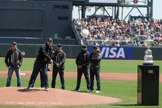 San Francisco Giants game at AT Park.  Oracle Team USA watch as skipper James Spithill throws out the first pitch.  08-25-2012