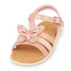 Baby Girls Toddler Glitter 3D Butterfly Boardwalk Sandal - Pink Sandals - The Children's Place