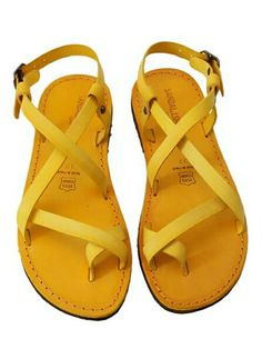 Yellow leather sandals - made in Italy - www.sandalishop.it