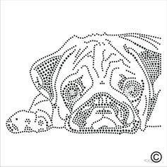 Iron On Rhinestone Transfer Sad Pug Dog Diamante Hotfix Crystal Motif Applique Quilting Stencils, Dog Branding, Rhinestone Transfers, Vintage Marketplace, Silhouette Cameo, Pugs, Pet Dogs, Applique, Sad