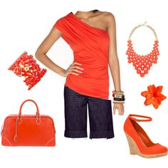 Summer time! coral, created by beach-girl7.polyvore.com