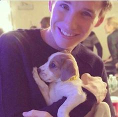 Eddie Redmayne and a puppy. you're welcome.