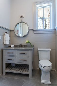 You don't have to have an entire wall of shiplap...how about just halfway up like in this bathroom from homebunch.com? Stop by your local Lowe's for the Rustic Collection in shiplap to start you own bathroom renovation today.