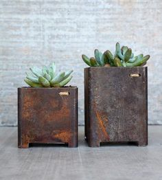 Beautiful patina on square garden planters   Iron and Dibble for Shoppe