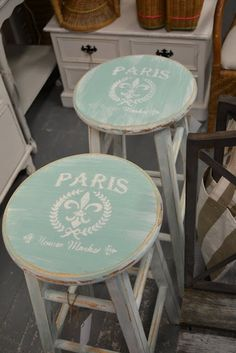 Image transfer painted on bar stools, with vintage french shabby chic style monogram?