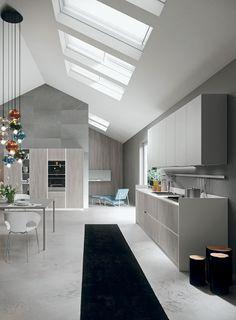 Loft thermal-structure and Light Grey laminate doors. HPL worktop in Bianco Ghiaccio finish. #ArritalCucine #Kculture #modern #kitchen #Ak02