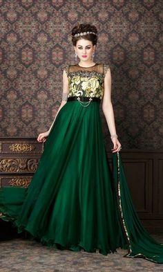 Green Party wear Anarkali Suit-
