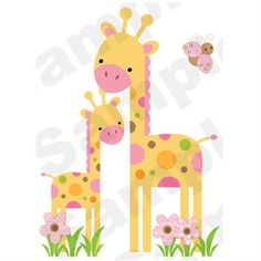 """MOD GIRAFFE WALL MURAL DECALS BABY GIRL NURSERY KIDS ROOM JUNGLE STICKERS DECOR measures 32.25"""" Tall and 23.25"""" Wide; $21.99 #decampstudios"""