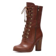 Bqueen Leather Lace-Up Boots B014Z1 ($79) ❤ liked on Polyvore featuring shoes, boots, ankle booties, heels, sapatos, footwear, genuine leather boots, leather ankle booties, leather lace up booties and heeled booties