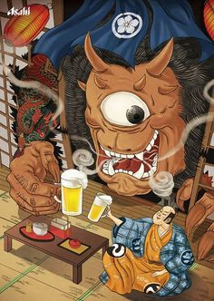 Genie Chen 浮世繪風格的Aashi ビール 風格獨樹一格 相較之下,我還是比較喜歡原先冰涼暢快的感覺