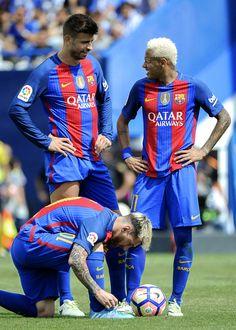"neymarchive: "" ""Barcelona's defender Gerard Pique chats with Barcelona's…"
