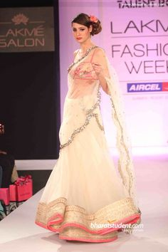 Anushree Reddy's Show at Lakme Fashion Week Summer/Resort 2013. White and pink half saree