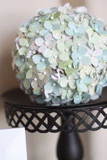 So cute! All you need is a paper punch, some pins and a foam ball. This is so cute for spring decor or even a springtime wedding!