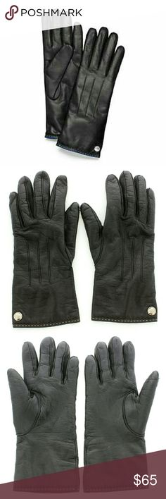 Coach Cashmere Lined Leather Gloves Coach Lined Cashmere Leather Gloves. Size 7.5. Soft leather. Cozy inside. White mark on each forefinger. Silver hardware. W/ dustbag.   No Trade or PP Bundle discounts Offers Considered Coach Accessories Gloves & Mittens